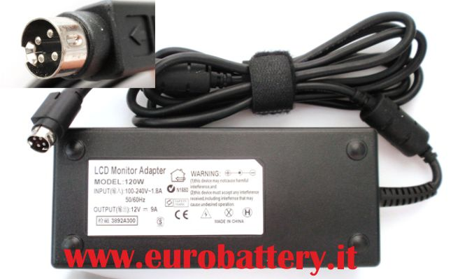 Alimentatore per TV LCD Monitor Display 12V 10A 4 pin 120W