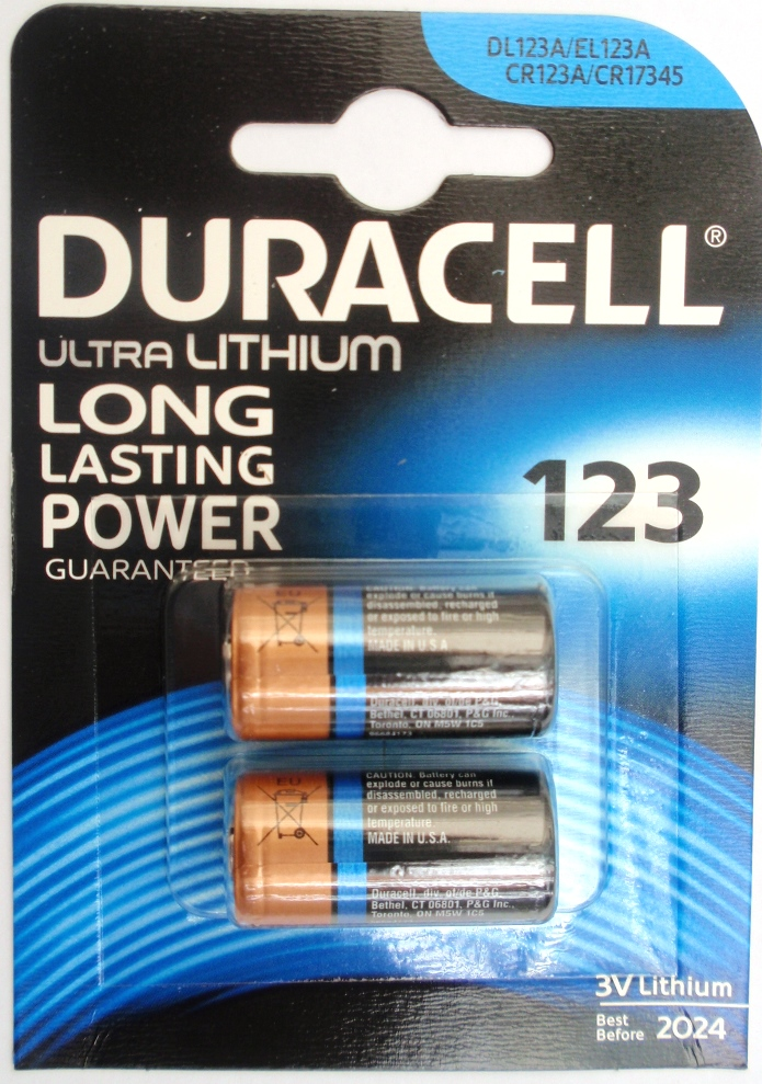 1x 2 Batteria ULTRA LITHIUM DURACELL 3V 123 DL123A EL123A CR123A