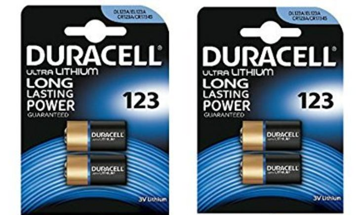 2x 2 Batteria ULTRA LITHIUM DURACELL 3V 123 DL123A EL123A CR123A