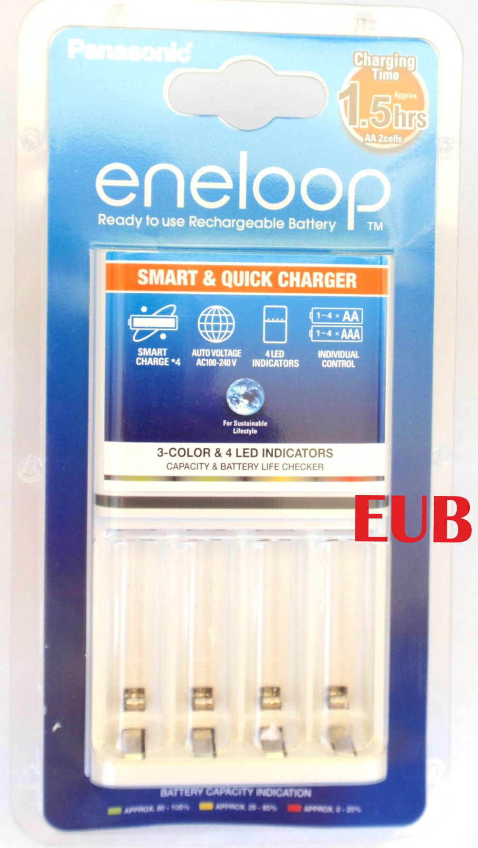 PANASONIC ENELOOP Smart & Quick Charger BQ-CC55E senza batterie