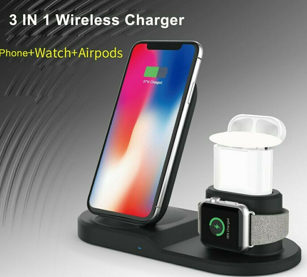 0 CARICATORE WIRELESS 3IN1 QI 10W USB TYPE-C IPHONE 11 XS WATCHB