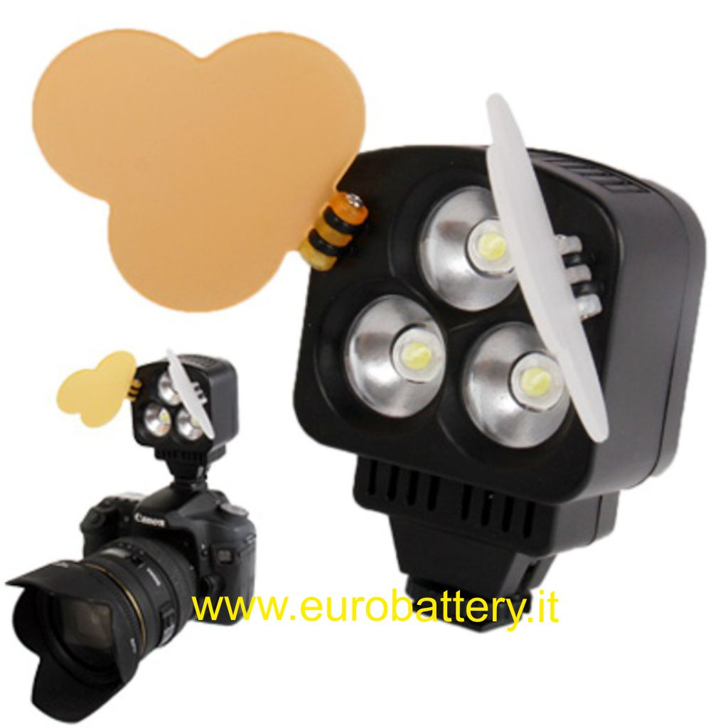 Faro Faretto Foto video Luce 3 Led + batt NP-F550+ cherger
