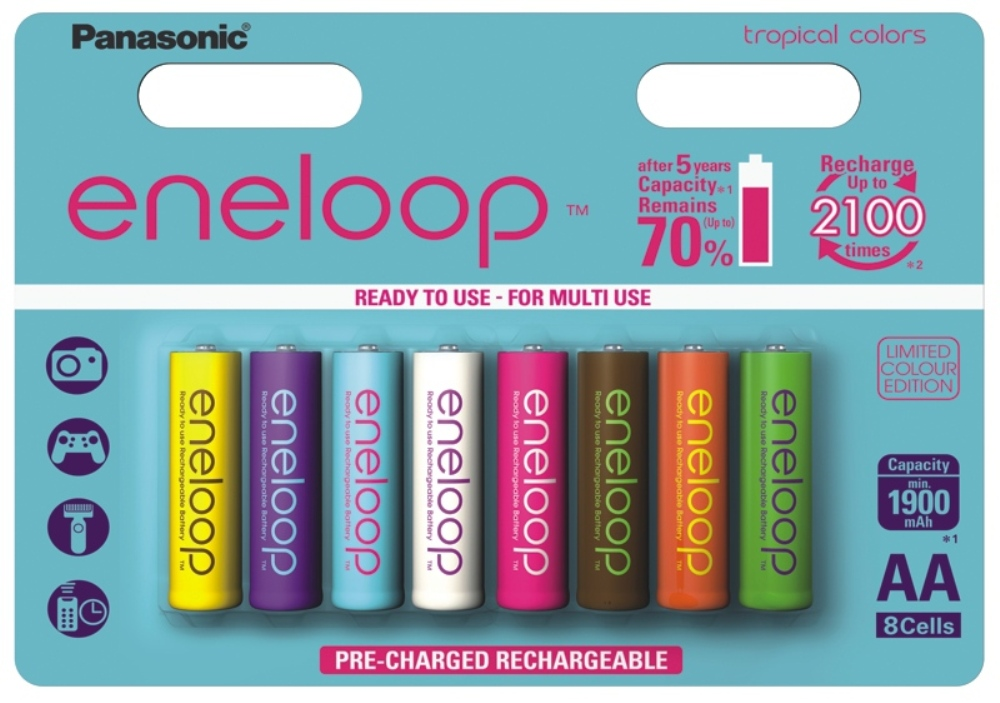8x ENELOOP TROPICAL COLORS stilo AA 1900 mA special edition