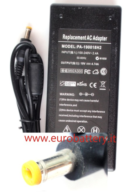 Alimentatore x ACER 19V 4,74A spinotto ext 5,5 int 2,1 90W